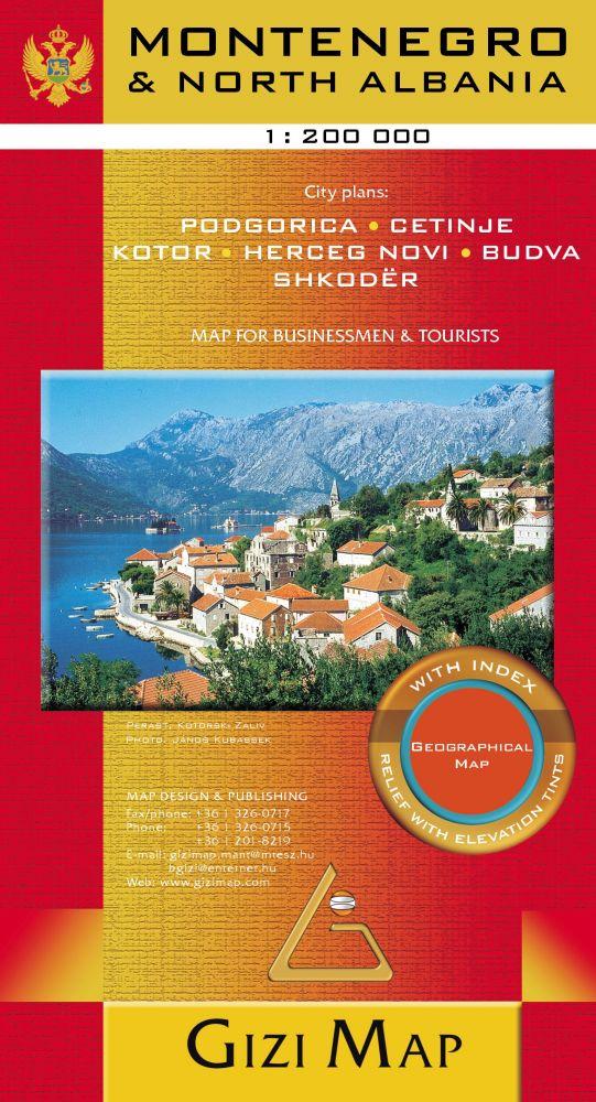 Montenegró és Észak-Albánia térkép - Gizimap