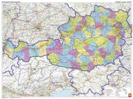 ausztria irányítószámos térkép Ausztria közigazgatása falitérkép   f&b   Útikönyv   Térkép   Földgömb ausztria irányítószámos térkép