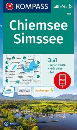 WK 792 - Chiemsee - Simsee turistatérkép - KOMPASS