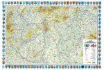 Magyarország általános földrajza falitérkép (címer szegélyes) - HM