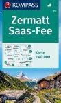 WK 117 - Zermatt - Saas Fee turistatérkép - KOMPASS