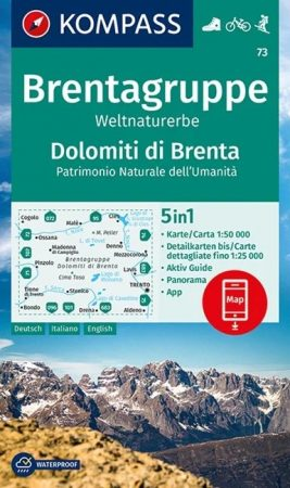 WK 73 - Dolomiti di Brenta - Weltnaturerbe turistatérkép - KOMPASS