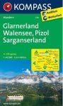 WK 126 - Glarnerland - Walensee - Pizol - Sarganserland turistatérkép - KOMPASS