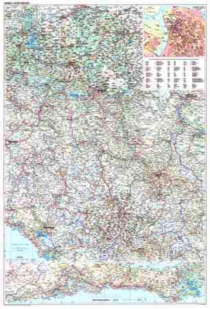 Szerbia, Koszovó és Montenegró autótérkép falitérkép - GiziMap