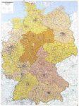 Németország postai irányítószámos falitérkép - f&b