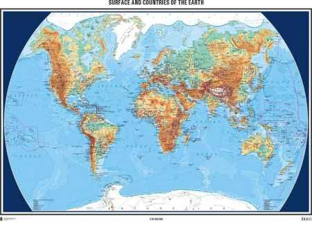 földgömb térkép A Föld felszíne és országai domborított térkép (117 x 81)   HM