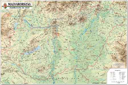 magyarország vizei térkép Magyarország domborzata és vizei falitérkép   Topográf   Útikönyv  magyarország vizei térkép