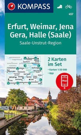 WK 457 - Erfurt, Weimar, Jena, Gera, Halle (Saale) 2 részes turistatérkép - KOMPASS