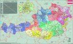 Ausztria irányítószámos falitérkép - Stiefel