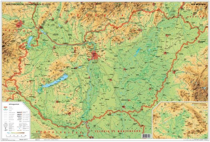 térkép magyarország domborzati Magyarország domborzata falitérkép   Stiefel   Útikönyv   Térkép  térkép magyarország domborzati