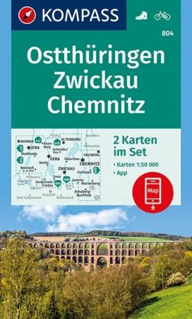 WK 804 - Ostthüringen, Zwickau, Chemnitz turistatérkép - KOMPASS
