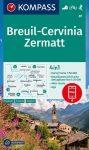WK 87 - Breuil - Cervinia - Zermatt turistatérkép - KOMPASS