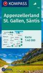 WK 112 - Apenzell - St. Gallen - Säntis turistatérkép - KOMPASS