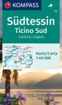 WK 111 - Südtessin - Ticino Sud - Locarno - Lugano turistatérkép - KOMPASS
