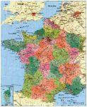 Franciaország megyéi és postai irányítószámai falitérkép - Stiefel