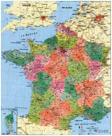 franciaország térkép Franciaország megyéi és postai irányítószámai falitérkép   Stiefel  franciaország térkép
