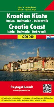 Horvát tengerpart Isztria-Dalmácia-Dubrovnik autótérkép - f&b AK 7403