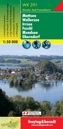 Mattsee – Wallersee – Irrsee – Fuschl – Mondsee – Oberndorf turistatérkép - f&b WK 391