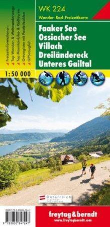 Faaker See – Ossiacher See – Villach – Dreiländereck – Unteres Gailtal turistatérkép - f&b WK 224