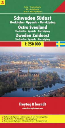 Délkelet-Svédország: Stockholm-Uppsala-Norrköping (Svédország 3) térkép - f&b AK 0669