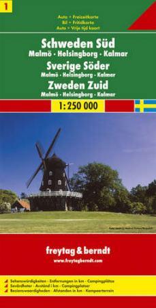 Dél-Svédország: Malmö-Helsingborg-Kalmar (Svédország 1) térkép - f&b AK 0667