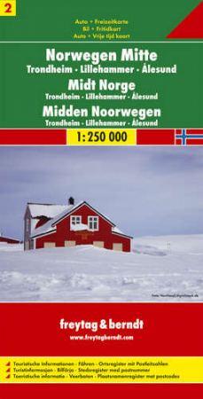 Közép-Norvégia: Trondheim-Lillehammer-Alesund (Norvégia 2) autótérkép - f&b AK 0656