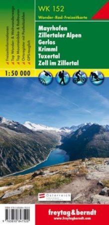 Mayrhofen – Zillertaler Alpen – Gerlos – Krimml – Tuxertal – Zell im Zillertal turistatérkép - f&b WK 152