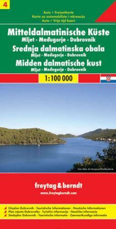 Dalmát tengerpart 4. Mljet-Medjugorie-Dubrovnik autótérkép - f&b AK 0706