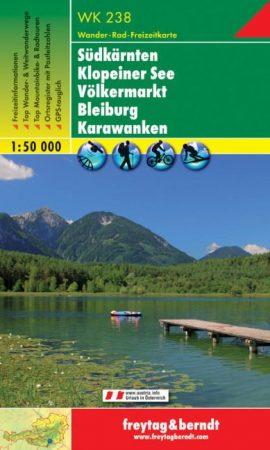 Südkärnten:  Klopeiner See, Völkermarkt, Bleiburg, Karawanken turistatérkép - f&b WK 238