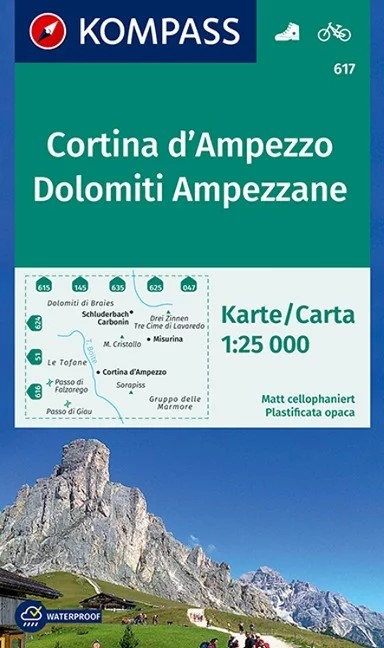 WK 617 - Cortina d'Ampezzo - Dolomiti Ampezzone turistatérkép - KOMPASS