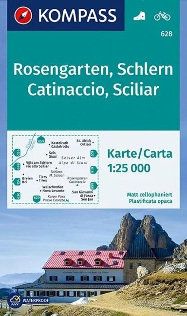 WK 628 - Rosengarten / Catinaccio - Schlern turistatérkép - KOMPASS