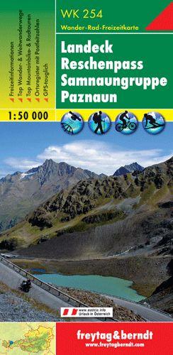 Landeck - Reschenpass - Samnaungruppe - Paznaun turistatérkép - f&b WK 254