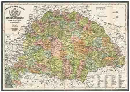 Antik Magyarország térkép könyöklő - Stiefel