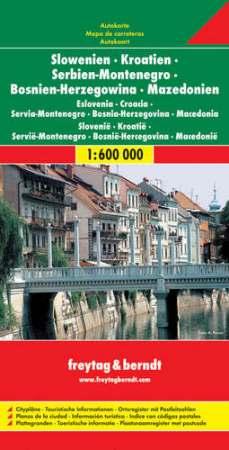 Szlovénia - Horvátország - Szerbia - Bosznia-Hercegovina - Montenegró - Macedónia autótérkép - f&b AK 7001