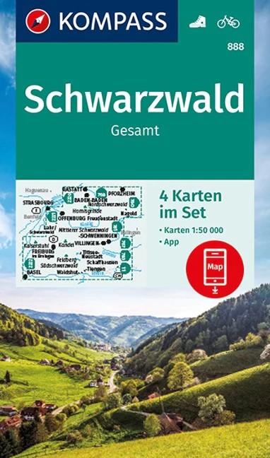 WK 888 Schwarzwald Gesamt 4 részes turistatérkép - KOMPASS
