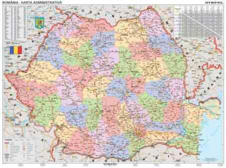 Románia közigazgatása falitérkép - Stiefel