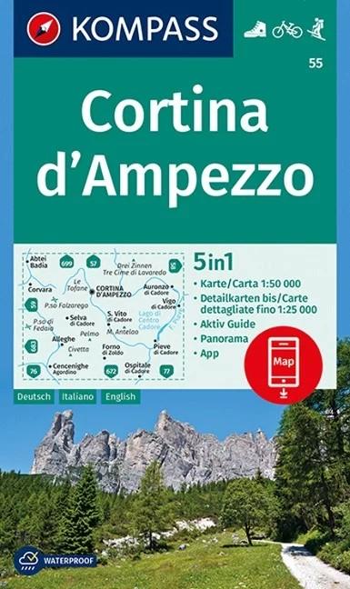 WK 55 - Cortina d'Ampezzo turistatérkép - KOMPASS