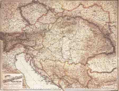 Az Osztrák-Magyar monarchia térképe, 1890 falitérkép - f&b