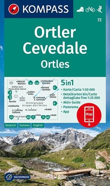 WK 72 - Ortler/Ortles - Cevedale turistatérkép - KOMPASS
