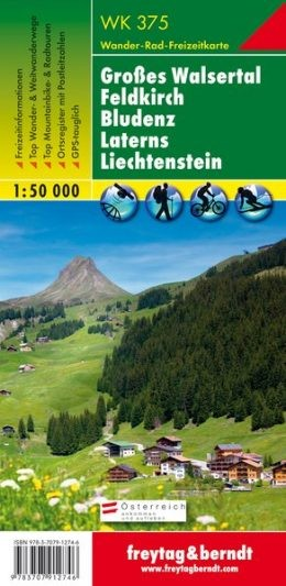 Großes Walsertal - Feldkirch - Bludenz - Laterns - Liechtenstein turistatérkép - f&b WK 375