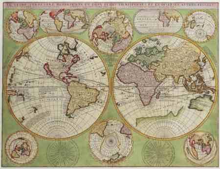 Antik Föld térkép könyöklő - Stiefel