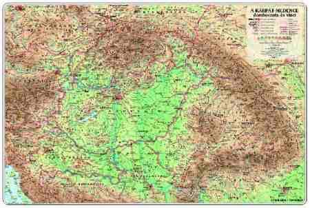 A Kárpát-medence domborzata és vizei falitérkép - Topográf