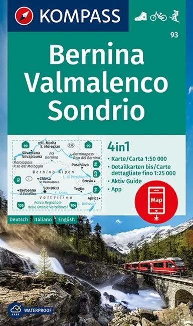 WK 93 - Bernina -VaLMALENCO - Sondrio turistatérkép - KOMPASS