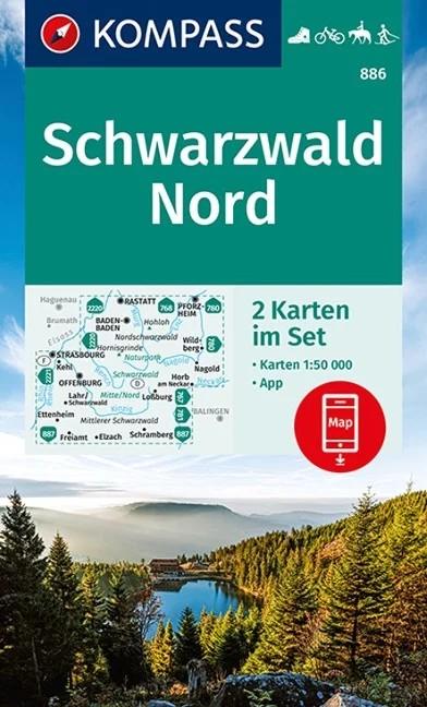 WK 886 - Schwarzwald Nord 2 részes turistatérkép - KOMPASS