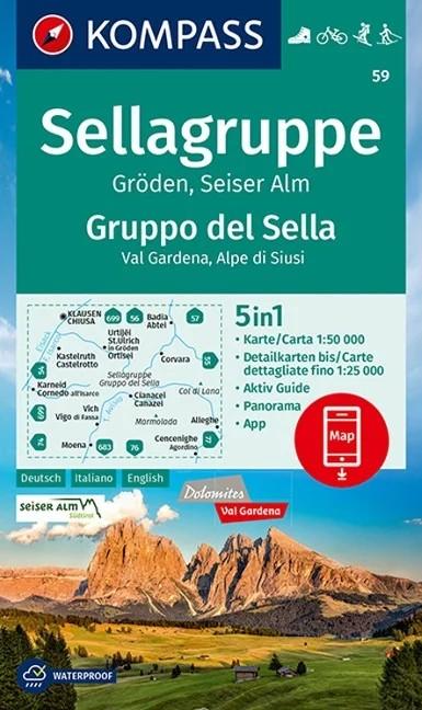 WK 59 - Sellagruppe / Gruppo di Sella turistatérkép - KOMPASS