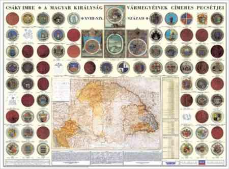 A Magyar Királyság vármegyéinek címerei és pecsétjei falitérkép - Stiefel