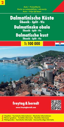 Dalmát tengerpart 2. Šibenik - Split - Vis autótérkép - f&b AK 0704