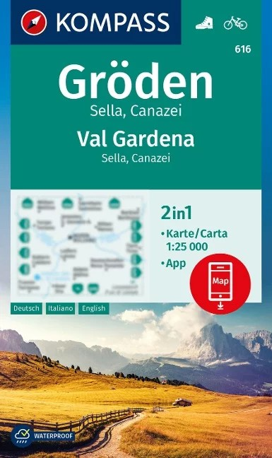 WK 616 - Gröden / Val Gardena - Sella - Canazei turistatérkép - KOMPASS