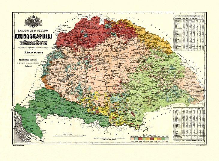 A Magyar Szentkorona országainak etnográfiai falitérképe - HM