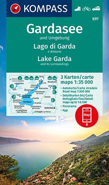 WK 697 - Garda-tó és környéke 3 részes turistatérkép - KOMPASS